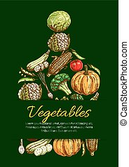 Vegetables and organic veggies vector poster - Vegetable...