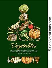 Vegetables and organic veggies vector poster - Vegetable...