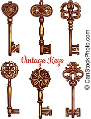 Old vintage metal keys vector isolated icons set - Vintage...