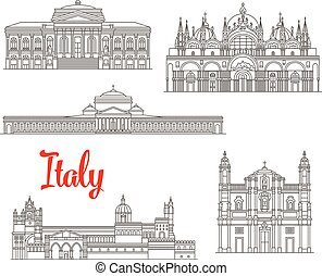 Italy architecture buildings vector icons - Italian historic...