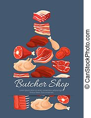 Meat and butchery products vector poster - Fresh meat poster...