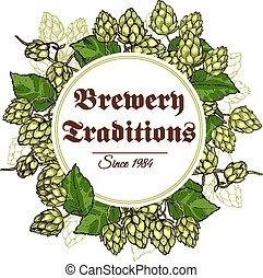 Hop branches and cones poster vector