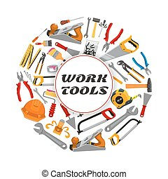 Repair construction work tools vector poster - Work tools...