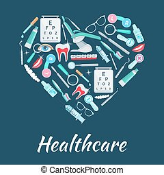 Healthcare medicines vector heart poster - Medical poster...