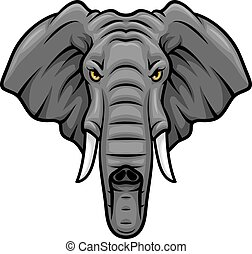 Elephant head, tusks and trunk vector mascot icon - Elephant...