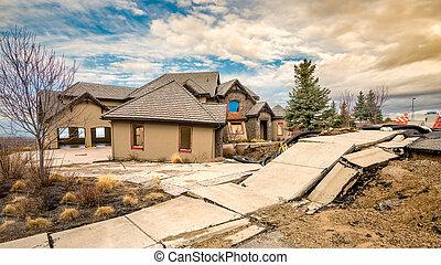 Boise Idaho foothills landslide crumbling house - Landslide...