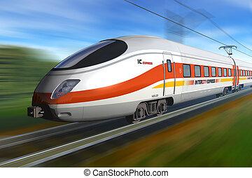moderne, élevé, vitesse, train