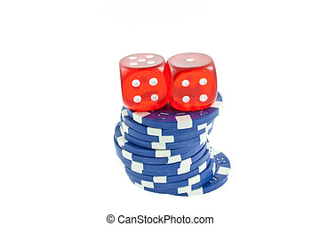 blue poker chips and red dice cubes isolated on white...