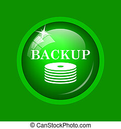 Back-up icon. Internet button on green background.