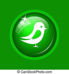 Bird icon. Internet button on green background.