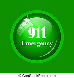 911 Emergency icon. Internet button on green background.