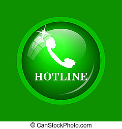 Hotline icon. Internet button on green background.