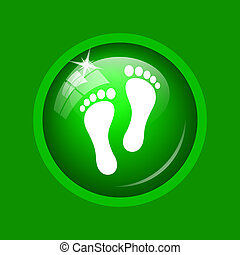 Foot print icon. Internet button on green background.