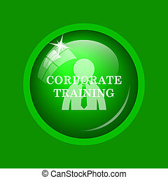 Corporate training icon. Internet button on green...