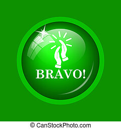Bravo icon. Internet button on green background.