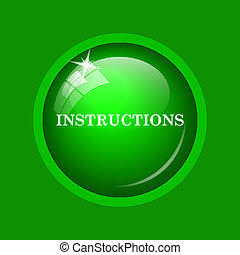 Instructions icon. Internet button on green background.