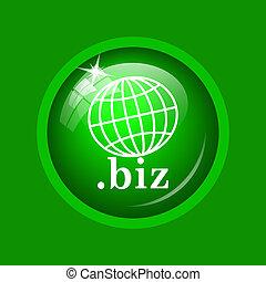 .biz icon. Internet button on green background.
