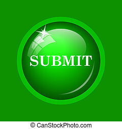 Submit icon. Internet button on green background.