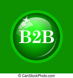 B2B icon. Internet button on green background.