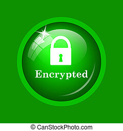 Encrypted icon. Internet button on green background.