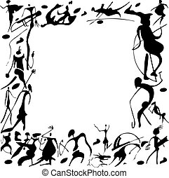 Cave paintings - Cave paintings in the form of frames on a...