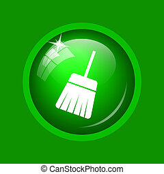Sweep icon. Internet button on green background.