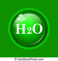 H2O icon. Internet button on green background.