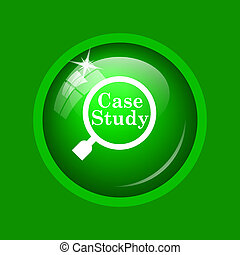Case study icon. Internet button on green background.