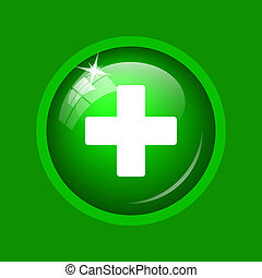 Medical cross icon. Internet button on green background.