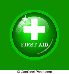 First aid icon. Internet button on green background.