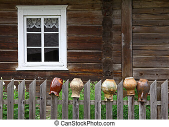 rurale, vecchio, brocche, casa