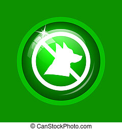 Forbidden dogs icon. Internet button on green background.