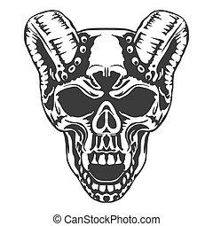 Skull, horned demon. Vector - Skull horned demon. Biker...