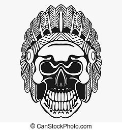 Indian Skull with Tribal feather Hat. Dead Chief