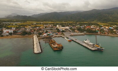Cargo and passenger transit port aerial view .Catanduanes...