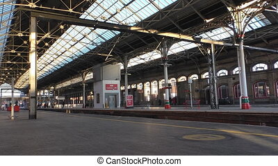 Preston rail station - Almost empty platforms with only few...