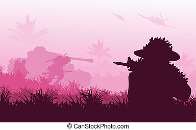Battlefield - Vector silhouette of soldier war in...
