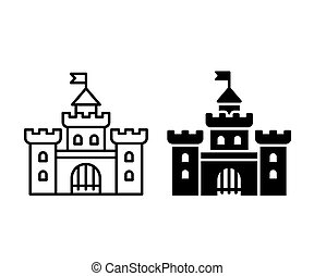 Castle icon illustration - Simple castle icon in two...