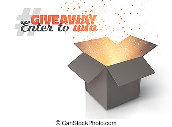 Vector Box Giveaway Competition Template - Illustration of...