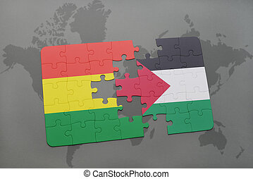 puzzle with the national flag of bolivia and palestine on a...