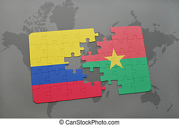 puzzle with the national flag of colombia and burkina faso...