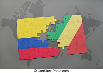 puzzle with the national flag of colombia and republic of...