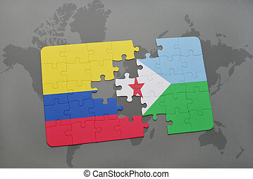 puzzle with the national flag of colombia and djibouti on a...