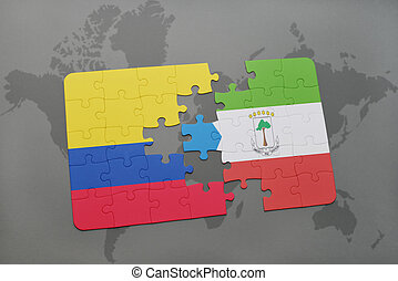 puzzle with the national flag of colombia and equatorial...