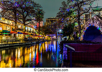 The Riverwalk at San Antonio, Texas, at Night. - Night Time...