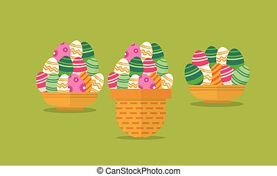 Easter egg in the basket vector flat