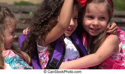 Kids Hugging  Friends
