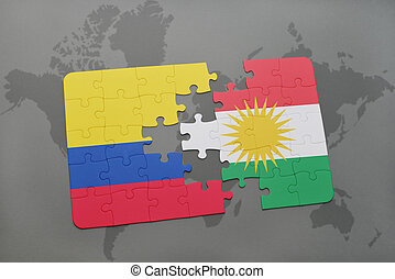 puzzle with the national flag of colombia and kurdistan on a...