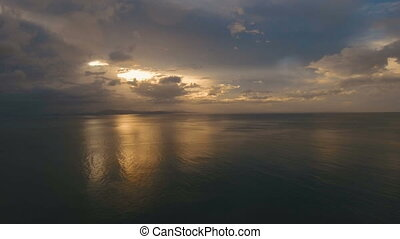 Beautiful sunset over sea, aerial view.Catanduanes - Sunset...