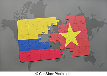 puzzle with the national flag of colombia and vietnam on a...